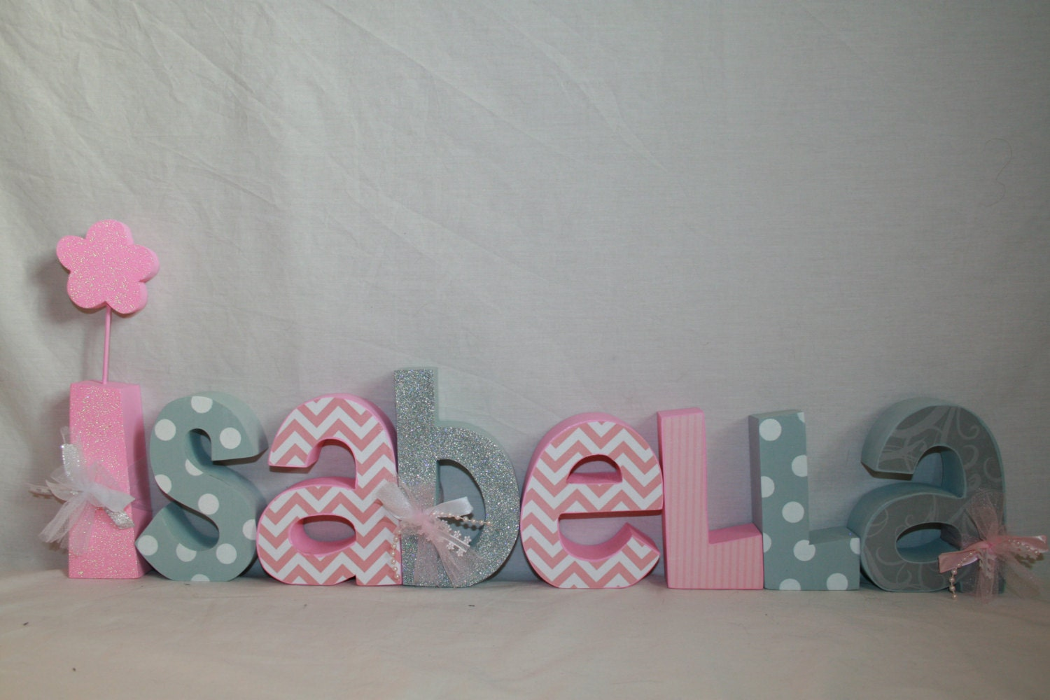 Decorative Wooden Nursery Letters 8 Letter Set Baby Girl