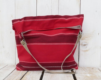 Red Linen Tote Bag, Natural Leather Strap, Striped Beach Shoulder Bag, unique gift for college students, wife laptop carrier, birthday
