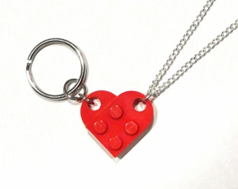 BFF Best Friends Heart Keychain and Necklace Set - Made of LEGO® Bricks - Friendship Friend Gift - Curb Chain Broken Split Heart