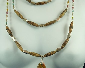 Handmade Three Strand Jasper and Marble Necklace Set