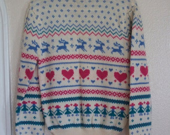 Blue,cream, and pink heart and dear design sweater