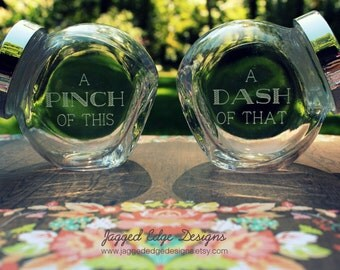 """Custom Engraved """"THIS 'N THAT """" Mini Glass Spice Jar Set - Finished Product"""