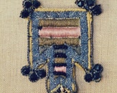 French kiss: Necklace w/ Antique Pink & Blue passementerie, embellished with real metal sequin, jet beads neo folk