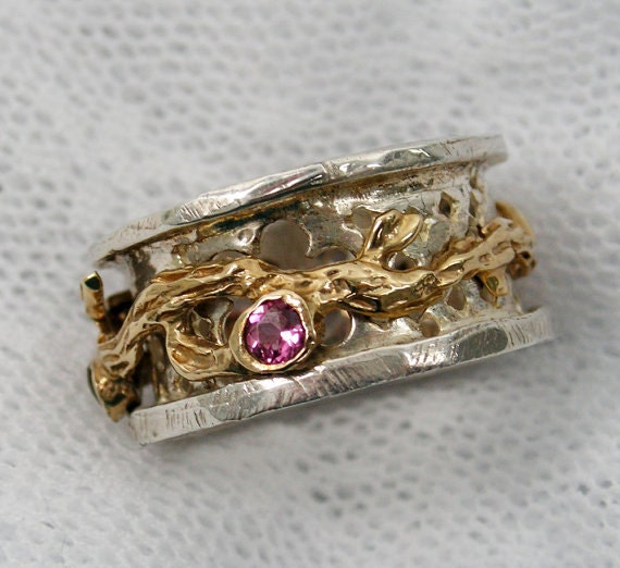 Spinner ring.worry rings. Meditation Ring.Tourmaline Sterling silver gold spinner ring. Tourmaline jewelry.(gsr-7138-1360-1361-1362-1359)