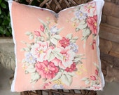 Antique Rose Floral Pattern Decorative Designer Custom Vintage Barkcloth Fabric Throw Pillow