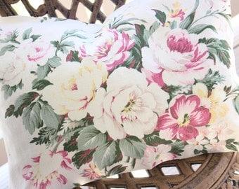 Sweet 1930s  Pink & Yellow English Cabbage Rose Floral Vintage Barkcloth Custom Designer Decorative Throw Pillow