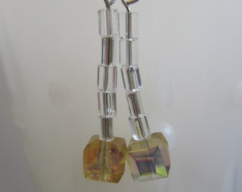 Cubist Dangle Earrings -Yellow Square & Clear Glass Beads