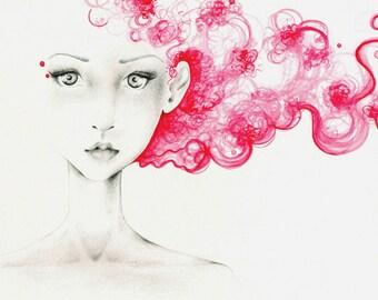 Watercolor Painting Art Print of My Original Watercolor Painting Beautiful Women Hot Pink Watercolor Painting of a Girl Pink Hair Watercolor