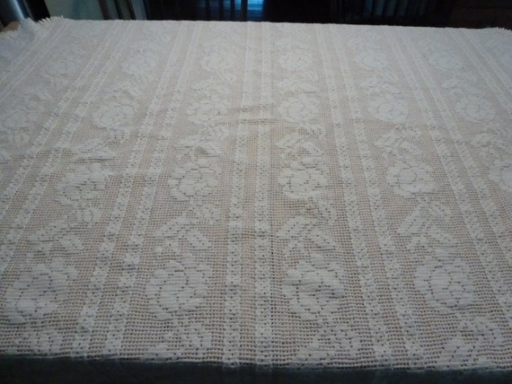 Farmhouse tablecloth white woven cotton by curranstudios for White cotton table cloth