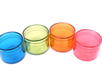 Bead Storage or Jewelry Packaging Round Box Rainbow Clear Tiny 1 1/4 by 1 inch 4pcs