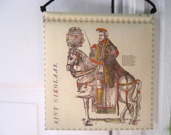 Modern Prayer Flag, Saint Nicholas, Sinterklaas, Sint Nikolaas, Santa Claus, Christmas, Winter, Woodcut