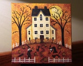 Original Halloween Folk Art Hand Painted Mini Canvas with Easel - Saltbox House, Two witches, Black cats, Full Moon, Pumpkin patch