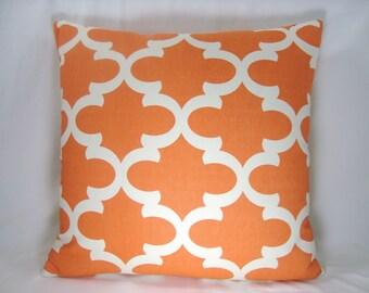 Orange Pillow Morrocan Pillow Modern Pillow Decorative Pillow Accent Pillow 18x18 Pillow