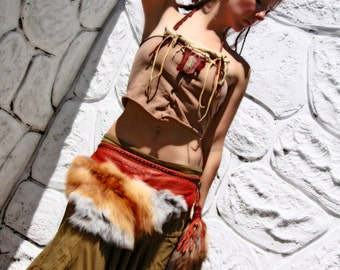 Gifted magic      Handmade leather fox fur tail hip belt wrap for the gypsy tribal soul