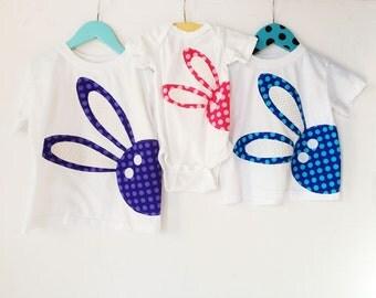 SALE Ready to ship 2t blue bunny shirt. Bunny Rabbit