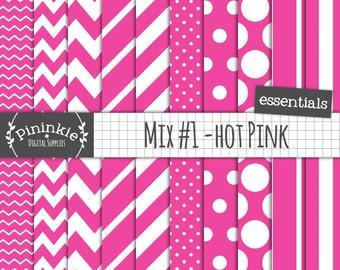 Hot Pink Digital Paper, Pink Scrapbook Paper, Hot Pink Polka Dot, Pink Chevron, Instant Download, Commercial Use