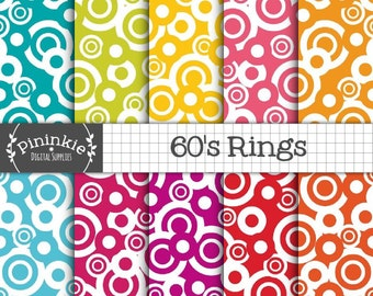 Retro Digital Paper, Sixties Patterns, Geometric Background, Instant Download, Commercial Use
