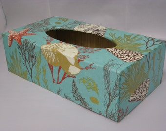 Blue Coral Tissue Box Cover handmade in UK wooden perfect gift