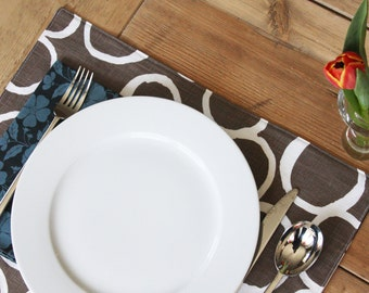 Handmade Placemats - Brown with Free Hand Circles - Set of 4 - 2 Sets made and ready to ship.