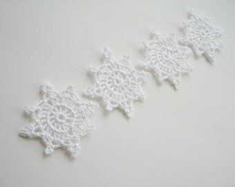Crochet Snowflakes, Christmas Decorations, Christmas Tree Appliques, Snow White Snowflakes, Decorative Motifs, Set of 4