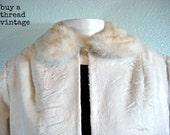Vintage  50s  White Faux Fur Crop jacket  by Glentex