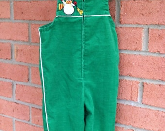 Green Snowman Corduroy Overalls - Sears - Infant Medium (28 1/2 - 32 inches tall & 20-25 lbs)