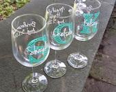 Bridesmaid gift Chevron monogram wine glasses.  Wine glass with chevron monogram and name. Title and date on the back. Mint  blue.