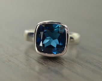 Cushion Solitaire, London Blue Topaz 8ct ring