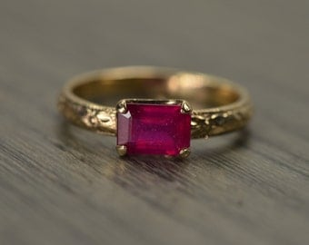 Ruby Gold Ring, emerald cut milgrain solitaire, solid 14k gold, July Birthday - Fitz Ring