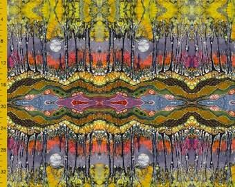 Full mirror repeat image of Moon Over Spring batik