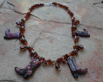 Western Original Amber Necklace with Cowboy Boot charms