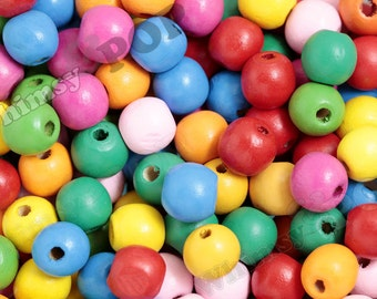 Chunky Colorful Wood Beads, Rainbow Beads, Wooden Beads, 16mm x 15mm, Hole 3mm (R8-231)