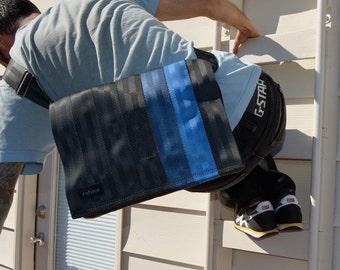 Crossbody Bag - Laptop Case - Seat Belt Messenger Bag - Black and Blue Seatbelt Bag (M-7)