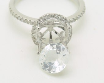 Settins of a 14K white gold  engagement diamonds halo ring with 1.91 carats  pure white sapphire JOAN-round white