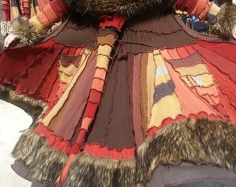SPECIAL Order Only!! Upcycled Sweater; FIERY AUTUMN!! FauxFur Spiral Gipsy Coat (Org/Brn w/Brown Fur)