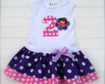 Girls Custom Boutique Dress Dora Dress Purple Pink Dress Girls Dress Girls Birthday Dress Kids Sizes 6-9 12-18 18/24 Mo Size  2  3 4 5 6 8