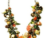 Chunky Bead Charm Necklace in a Variety of Fall colors with Mixed Metal Charms