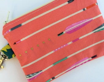 Pink Arrows Small Zippered Pouch