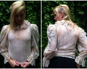 70s Ruffled lace floral blouse size Small