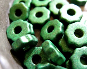 Mykonos Greek Ceramic Beads Tiny Gears Shamrock Green 50 pieces 6mm metallic brown beads