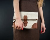 Fold over Leather Clutch Purse Bag  Natural Linen Canvas