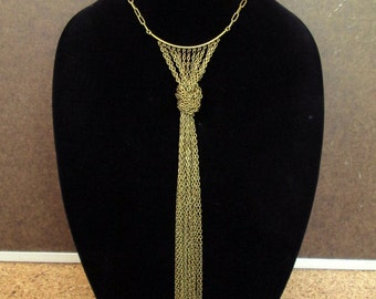 Statement tie necklace, modern chain bib necklace in antique brass tone, long chain fringe necklace