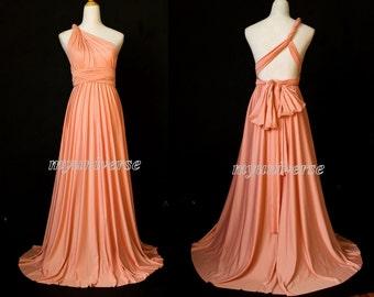 Coral Bridesmaid Dress Infinity Dress Wrap Convertible Dress Sexy Jersey Dress Formal Dress Gown