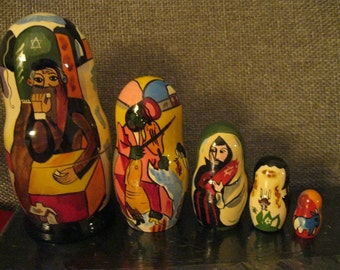 After SHAGAL. EXCEPTIONAL  QUALITY Large  Art set of 5 nesting dolls  Hand painted all around  in Russia Babushka Matryoshka.  Ship From Usa