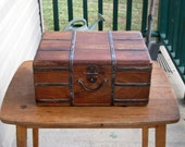 """ReSeRvEd for Tyler - Chinese Teak Travel Case / Trunk / Suit Case With Metal Strips / Pre 1900 / 16"""" X 12"""" X 7"""" / Rustic Wedding Card Box"""