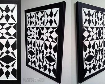 METAMORPHOSIS, Original Abstract Art, Black And White Geometric Wall Art, String Art, Geometric Painting, Canvas Art, Acrylic Painting