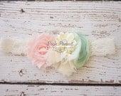 Mint girls headband, baby headband, lace headband, shabby chic headband, newborn headband, pink and mint headband, hair clip, girls headband