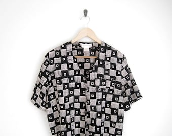 Vintage 90s Shirt. Black Top with Geometric Print. Ethnic Tribal Print Short Sleeve Pocket Blouse. Airy Button Down Oversized Shirt.