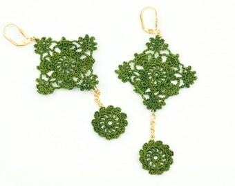 Earrings-Victorian Crochet Lace Earrings,Black Crochet Earrings,Statement Earrings,Green Lace Earrings,Dangle Earrings