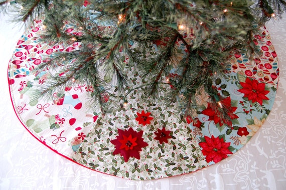 "CHRISTMAS TREE SKIRT Size 40"" Poinsettia Design Holiday Decor Christmas Decorations christmas gift Christmas Tree Christmas Decor Xmas Gift"